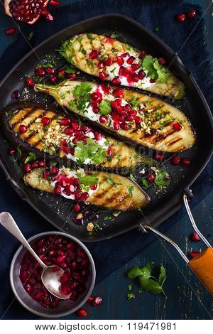 Grilled Eggplants With Garlic Yogurt Sauce, Walnuts And Pomegranate,
