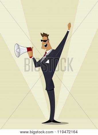 Business Man Shouting In Megaphone.