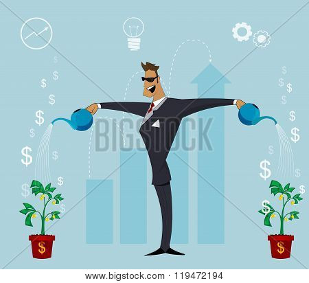 A Happy  Business Person Watering  Growing Plant With Money Flowers.