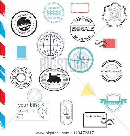 Vector Set Of Stamps And Badges. Passport, Post, Travel Stamps