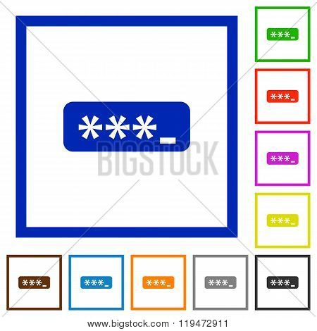 Password Typing Framed Flat Icons