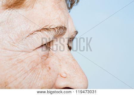 Close up of a senior woman's face
