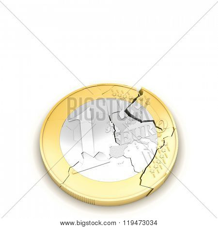 3d broken euro coin on white background
