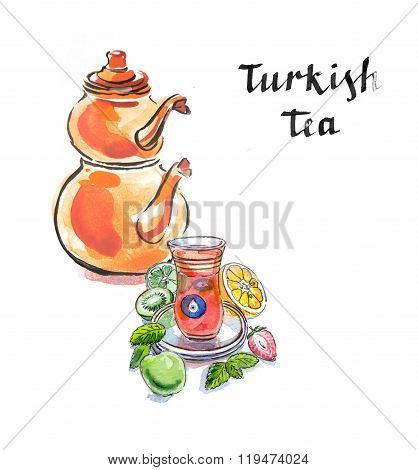 Watercolor Turkish Tea With Turkish Kettle