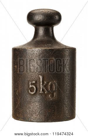 Old rusty iron scale weight isolated on white
