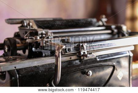 Old Metalic Typewriter, Closeup Shot