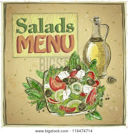 Salads menu design, vintage illustration with greek salad
