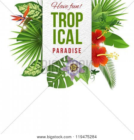 Paper emblem with type design and tropical flowers and plants