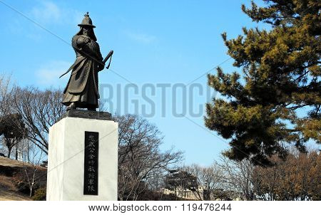 Jinju, South Korea.Monument to General Kim Si-min