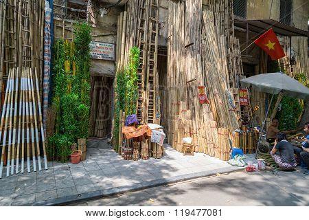 Hanoi, Vietnam - Circa September 2015: Bamboo Shop On The Street In Residential Area Of Hanoi,  Viet
