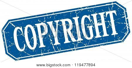 Copyright Blue Square Vintage Grunge Isolated Sign