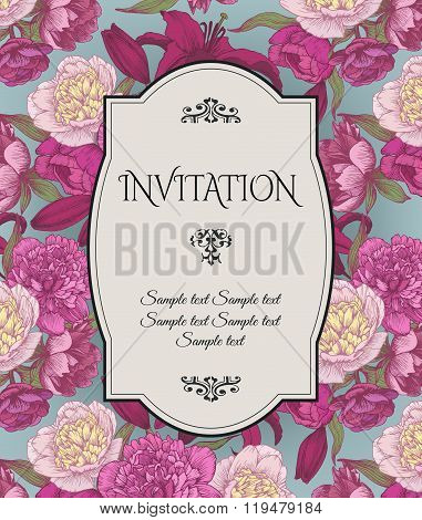 Vector vintage invitation card with bouquets of hand drawn purple and white peonies, crimson lilies