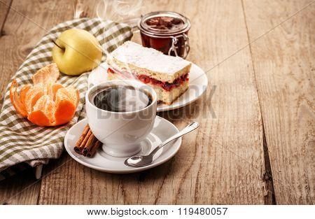 Cup of coffee breakfast retro style on wooden board