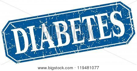 Diabetes Blue Square Vintage Grunge Isolated Sign