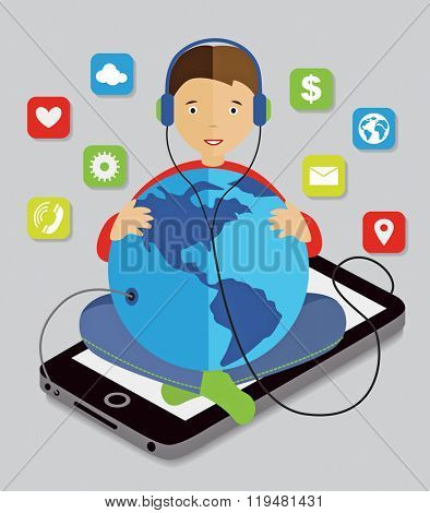 boy sitting on a smartphone with a globe in his hands and listening to music (vector illustration, flat concept)