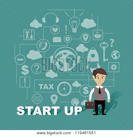 start up of business project (vector illustration, flat concept)