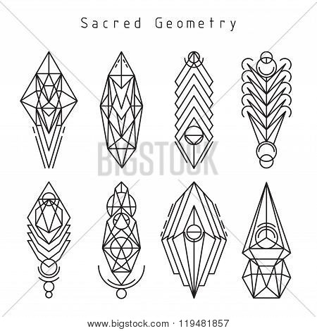Vector linear sacred emblems