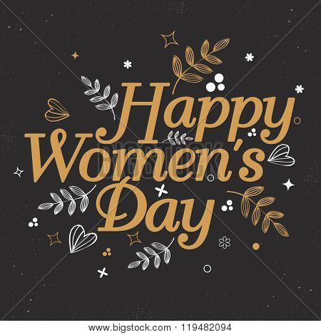 Elegant greeting card design with stylish text Happy Women's Day on floral leaves decorated background.