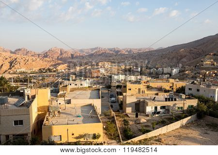 View of the modern city next to old city Petra Jordan