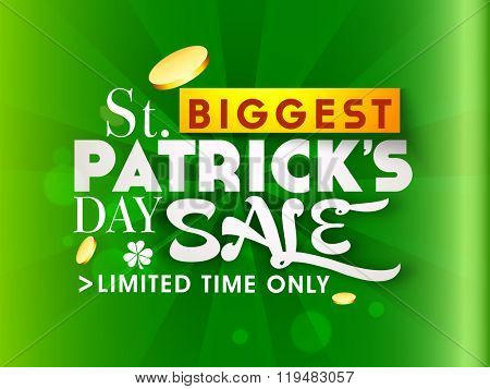 Glossy green Poster, Banner or Flyer design of Limited Time Biggest Sale on occasion of St. Patrick's Day celebration.