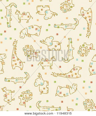 Baby Safari Pattern (Seamless Pattern) (Please check my portfolio for this image in vector format)