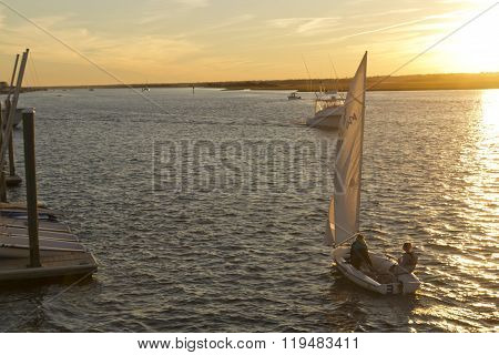 Scenic Boating At Sunset