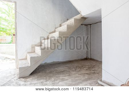 Unfinished Stairs In An Building