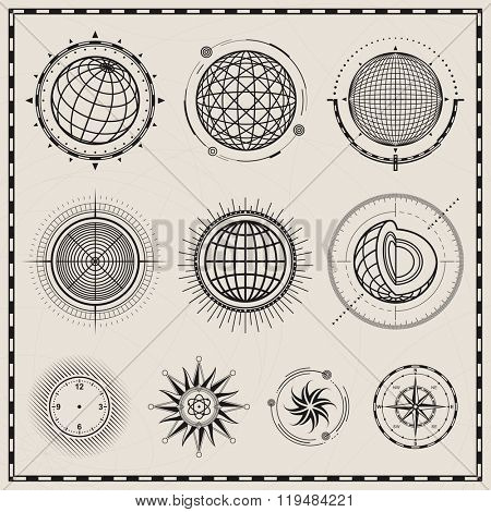 Collection of outline globes, spheres and compass symbol design.