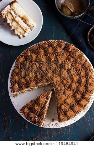 Delicious Tiramisu Cake On Cake Stand