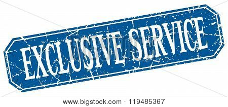 Exclusive Service Blue Square Vintage Grunge Isolated Sign