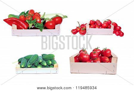 Set of vegetables tomatoes and cucumbers in wooden boxes