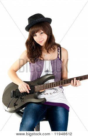 Beautiful Girl Playing The Guitar