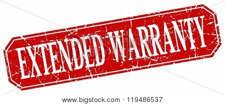Extended Warranty Red Square Vintage Grunge Isolated Sign