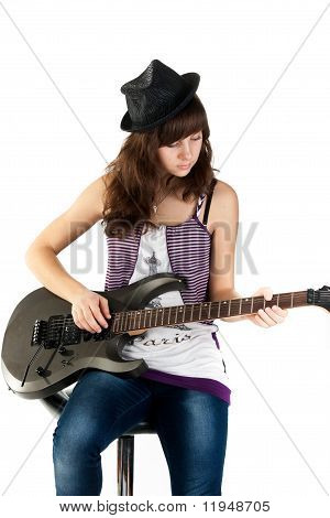 Beautiful Girl Playing The Guitar