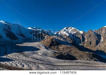 Night View Of Bernina Massive And Glacier