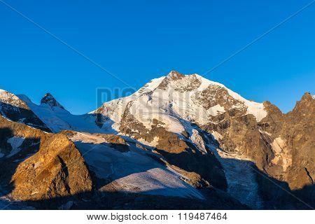 Piz Bernina In Morning Sunshine