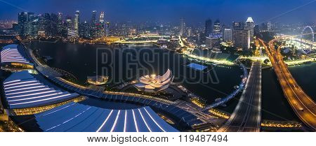 Singapore, Singapore - Circa September 2015: Panorama Of Marina Bay And Singapore Downtown From The