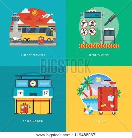 Set of flat design illustration concepts for airport transfer, security check, boarding desk, luggag