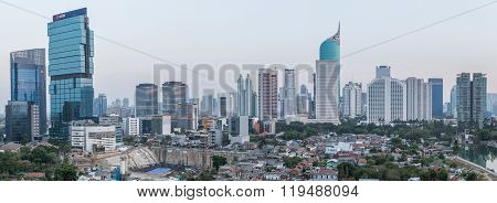 Jakarta, Indonesia - Circa October 2015: Panorama Of Jakarta Skyscrapers At  Sunset
