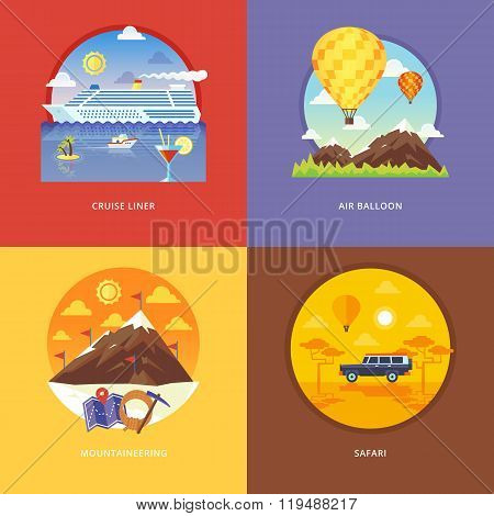 Set of flat design illustration concepts for cruise liner, air balloon, mountaineering, African safa