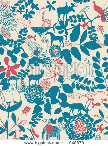 Retro whimsical floral seamless pattern with children's graphics illustration
