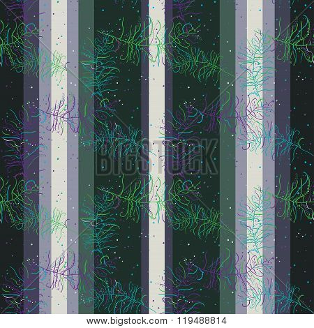 Seamless vertical retro pattern with feathers