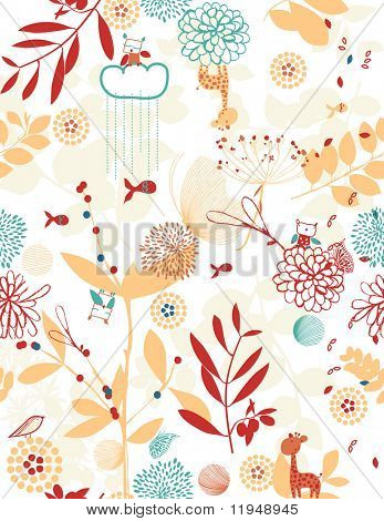 Retro whimsical floral seamless pattern with children's illustration