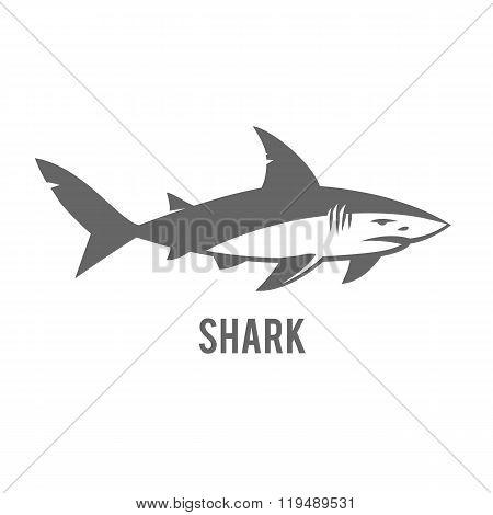 Monochrome illustration of stylized shark isolated on white.