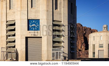 Clock Showing Nevada Time At The Hoover Dam