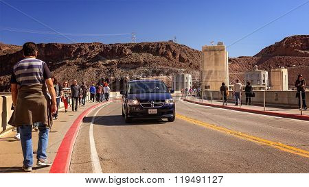 Traffic And Tourists Cross Hoover Dam
