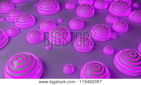 purple futuristic spheres background