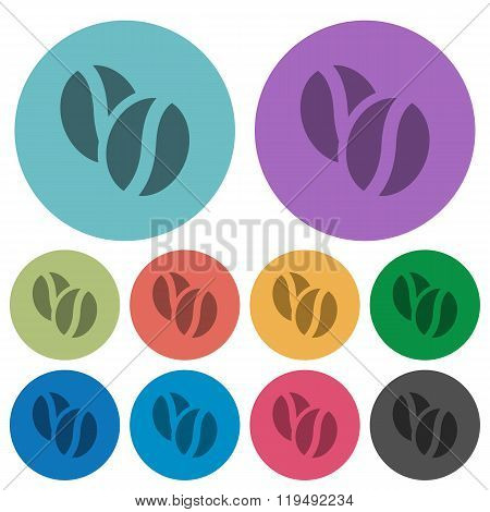 Color Coffee Beans Flat Icons