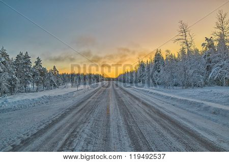 Icy winter road in Lapland, Finland
