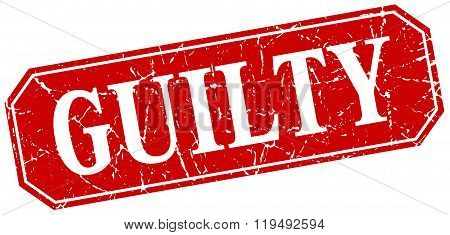 Guilty Red Square Vintage Grunge Isolated Sign